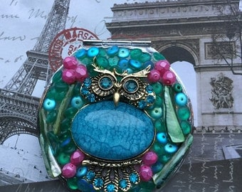 OWL mosiac embellished compact mirror by ashley3535