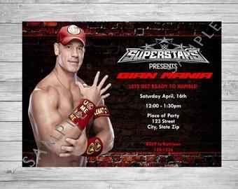 John Cena Printable Birthday Party Invitation WWE Birthday