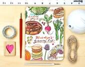 Grocery list, notebook, personalized, blank, farmer's market, journal