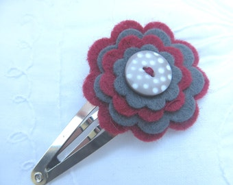 Felt button flower snap clip - CLeaRaNCe