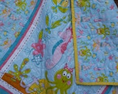 Mermaid Crib Quilt Baby Girl Ocean Beach Theme Crib Bedding Toddler Cot Bedding Fish Octopus Treasure Chest Seahorse
