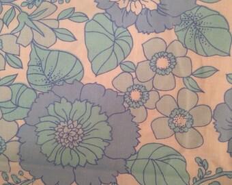 Vintage Blue Floral Fabric, Delicate Flowers