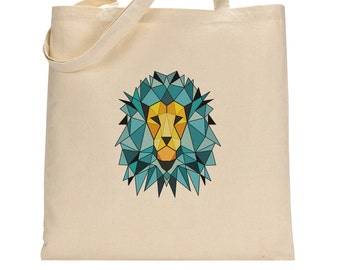 Shopping tote bag, geometric lion, student messenger, bag for books, painted cotton bag
