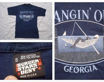 Vintage Retro Men's Georgia T-shirt Hammock Hangin' Time Blue Tshirt Silk Screen Short Sleeve Small Made in the USA
