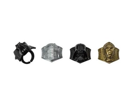 Star Wars Darth Vader C3po R2d2 Cupcake Topper Rings 12