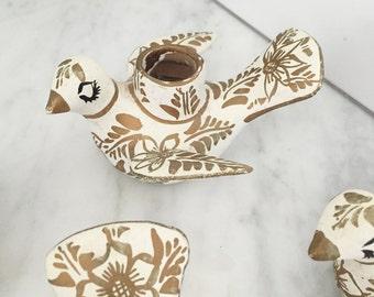 Folk Art Bird Decor, Mexican Pottery Doves, Set of Four, Mexico Candle Holder, Gold White Birds, Gold White Decor, Vintage Talavera Puebla