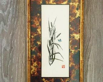 Bamboo Painting, Vintage Bamboo Wall Decor, Asian Art, Gold Bamboo Frame, Tortoise Shell Decor, Gallery Wall
