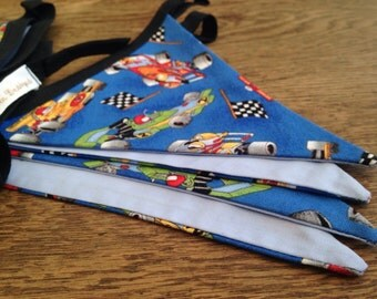 Racing Car Bunting in blue, Motorsport Fan, Man Cave, Playroom, Boy Racer, Checked flags