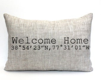 "housewarming gift, longitude and latitude pillow, graduation gift, wedding gift, coordinates pillow - ""The Welcome Home"""