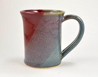 Pottery Coffee Mug Coffee Cup 12 oz Wheel Thrown Stoneware Ceramic Mug Blue Red