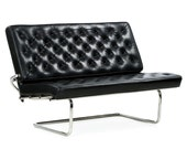 Marcel Breuer F40 Cantilever Nickeled Chromed Steel Leather Sofa Settee by Tecta, Late 20th Century, 601RKC18P