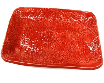 Red Ceramic Dish, Red Home Décor, Ceramic Candy Dish, Red Pottery Dish, Lace Plate, Jewelry Dish, Red Kitchen Décor, Red Home Décor