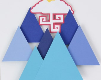 3D Layered Paper Geometric Mountains