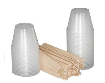 100 Pc Set ICE RESIN Cups and Stir Sticks, 50 each, measuring cups and stirring Sticks for Ice Resin a Crystal Clear Self Hardening Resin