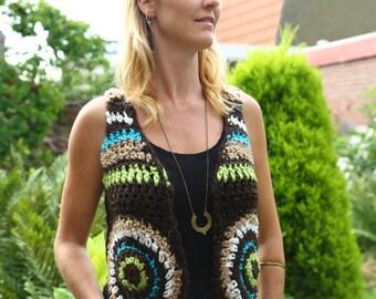 Handmade crochet bolero, gilet, vest, wool, recycled wool, hippie, boho, hipster, gyspy,
