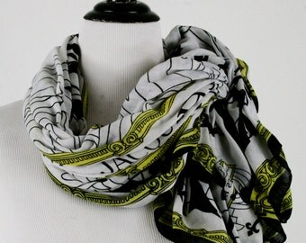 Jacques Fath X Large Silhouettes and Chandeliers Oblong Scarf