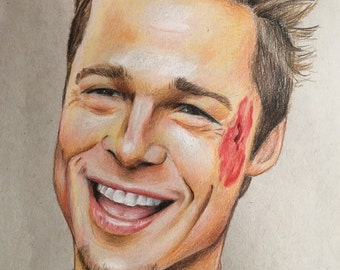 Brad Pitt original pencil drawing .A4 fan-art Fight Club Tyler Durden