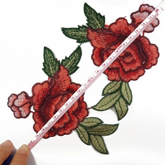 Bulk sale rose patches embroidered red flowers roses