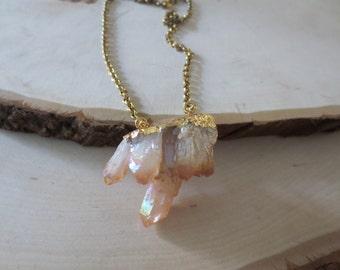 Crystal necklace, crystal cluster necklace, crystal pendant necklace, crystal cluster pendant necklace, crystal druzy necklace