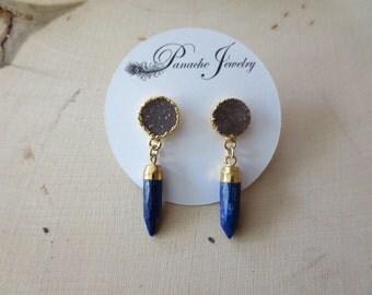 Druzy earrings, druzy stud earrings, lapis earrings, lapis spike earrings, lapis lazuli earrings, blue stone earrings