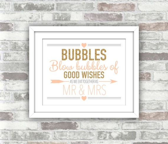 INSTANT DOWNLOAD - Printable Wedding Bubbles Sign - Gold Glitter Effect Blush - Blow bubbles of good wishes - Digital File - Mr & Mrs - 8x10