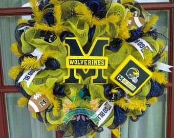 Michigan Wolverine College Fan Deco Mesh Door Wreath