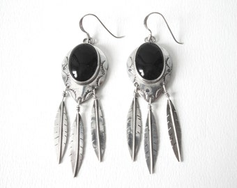 Navaho Sterling Silver Black Onyx Pieced Feather Dangle Earrings