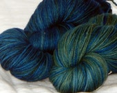 Set of 2 Blue and Green and Blue on Mad Fingering 100% SW merino fingering yarn