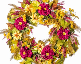 Fall Delight Dahila Wreath FW902