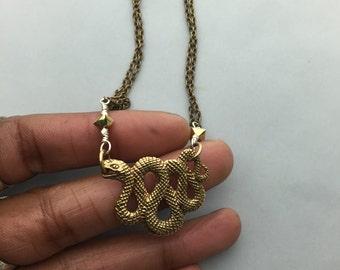 Textured Brass Snake Necklace