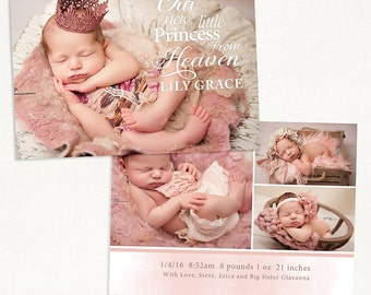 Birth Announcement Template for Photographers - 7x5 Photo Card - Sweet Baby 23 - ID254, Instant Download