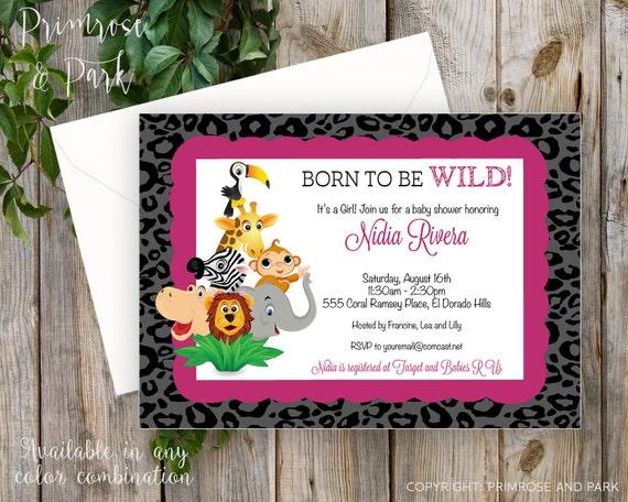 Jungle Invitation Printable or Digital File // Baby Shower or Birthday // Safari, Jungle Zoo Animals