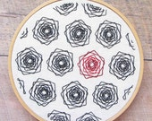 Geometric Roses Embroidery Pattern - Modern Floral Embroidery - Hoop Art