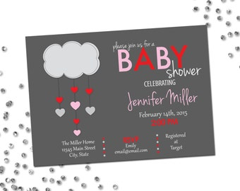 Valentines Baby Shower Invitation - Valentines Baby Shower - Heart Cloud - Grey Pink and Red - Printable