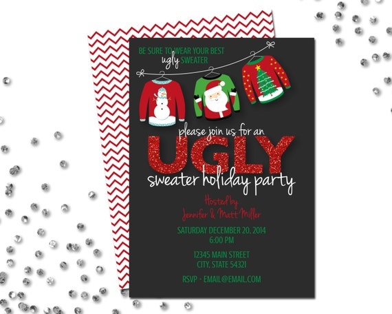 Ugly Sweater Holiday Party Invitation 2 Ugly Sweater Party Red