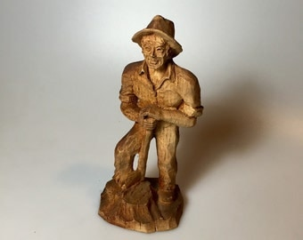 Antique Wood Carved Lumberjack made in France