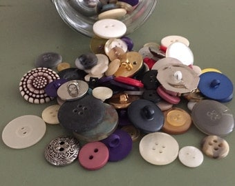 Jar of Buttons Sewing Materials Vintage Sew Metal Button Retro Supplies