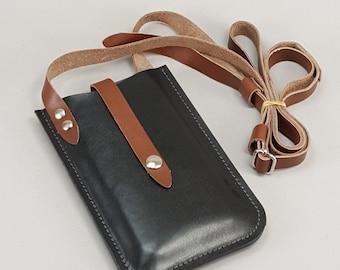 iPhone 6 PLUS Crossbody Wallet, Black w Brown Straps, Card Pocket