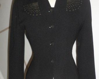 zelda black fitted waist jacket blazer  80-s90s does 30s with a twist studded star burst design size 2