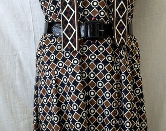 Vintage Early 70's Geometric Design Loose Dress With Pleated Skirt