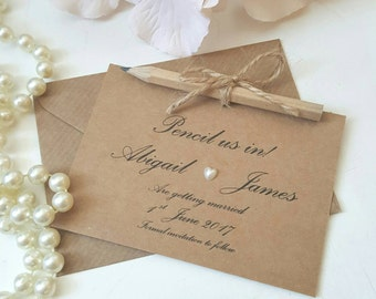 pencil us in save the date cards set of 50