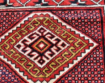 Turkisk Rug with Hooked Medallions and Stars -- 4 ft. 3 in. by 2 ft. 9 in.