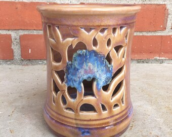 Vintage Studio Art Pottery Brown And Lavender Blended Hydrangea Strada Candleholder