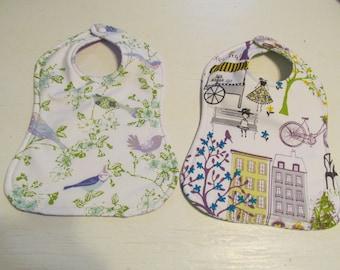 Baby Bib and Burp Cloth Baby Set of 2 Reversible Bibs