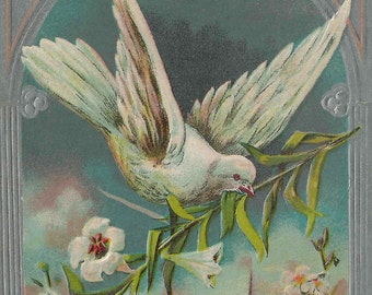 Antique Easter Greetings PostCard With Peace Dove and Easter Lilies Circa 1900