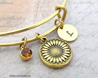 Sunflower Charm Bangle Personalized Hand Stamped Initial Birthstone Antique Gold Sunflower Solid Brass Expandable Bangle Bracelet