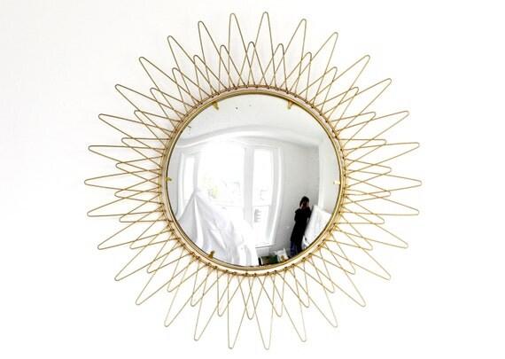 Vintage Gold Sunburst Mirror Mid Century Starburst Convex