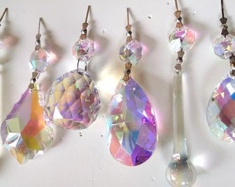 6pc Set AB Iridescent Chandelier Crystal Prisms Icicles, Teardrops, French Cuts, Raindrops, Ball