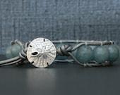 beach jewelry - faceted blue jade wrap bracelet - sand dollar button - boho bohemian - mermaid bracelet