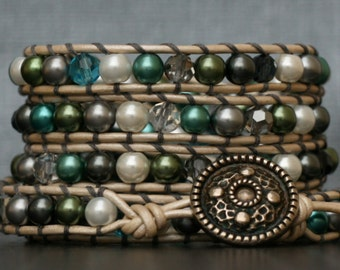 READY TO SHIP wrap bracelet- blue, green and gray glass pearls and crystals on silver white leather